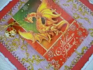 Новогодние открытки ручной работы с драконом